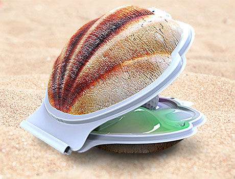 clamshell open back view